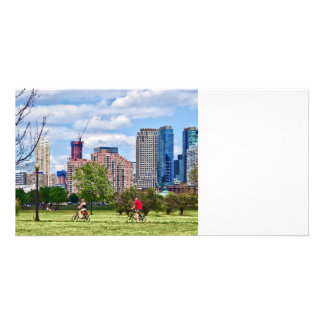 Cycling in Liberty State Park Customised Photo Card