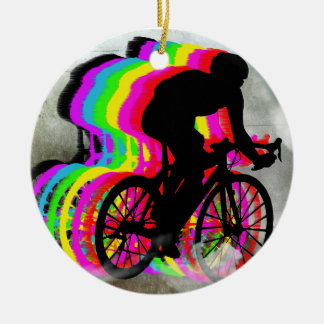 Cycling in the Clouds Round Ceramic Decoration