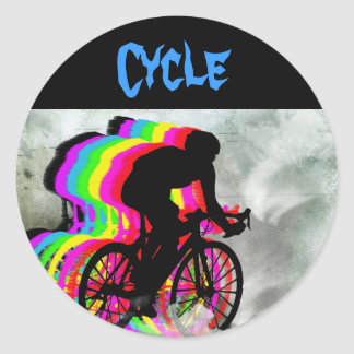 Cycling in the Clouds Round Sticker