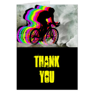 Cycling in the Clouds Thanks Greeting Card