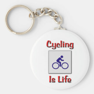 Cycling Is Life Basic Round Button Key Ring