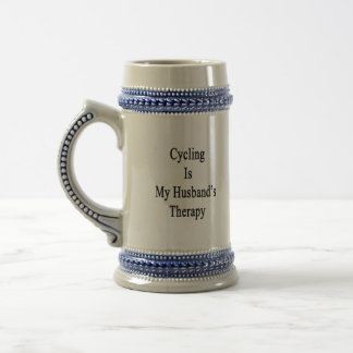 Cycling Is My Husband's Therapy Beer Steins