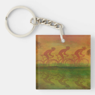Cycling Key Ring Single-Sided Square Acrylic Key Ring