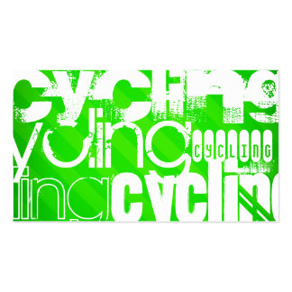Cycling; Neon Green Stripes Double-Sided Standard Business Cards (Pack Of 100)