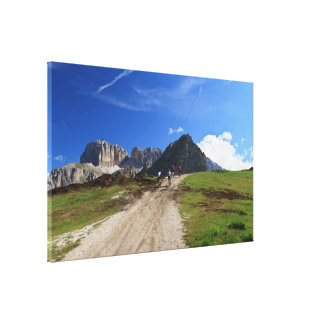 cycling on Dolomites Canvas Print