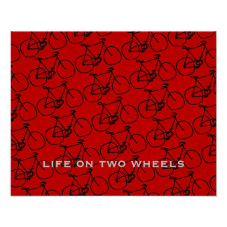 cycling pattern sports black red posters