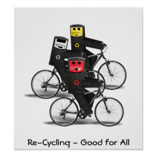 Cycling Recycle Bins Posters