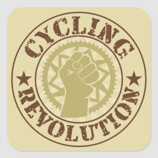 Cycling revolution badge square stickers