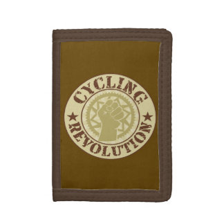 Cycling revolution badge tri-fold wallets