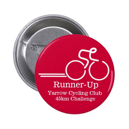 Cycling runner competition button badge red white