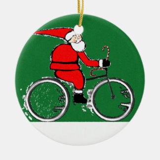Cycling Santa Collectible Round Ceramic Decoration