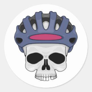 Cycling Skull Round Sticker