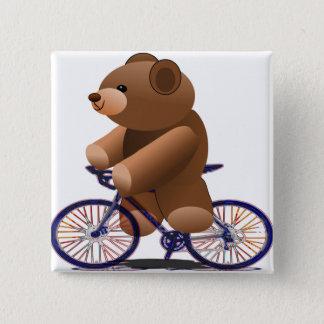Cycling Teddy Bear Print 15 Cm Square Badge