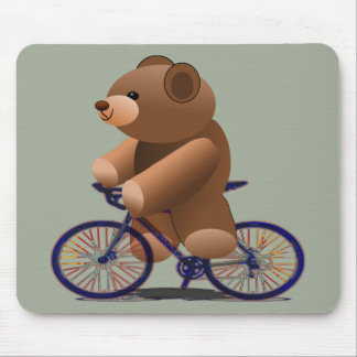 Cycling Teddy Bear Print Mouse Mat