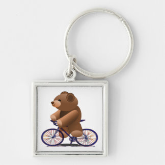 Cycling Teddy Bear Print Silver-Colored Square Key Ring