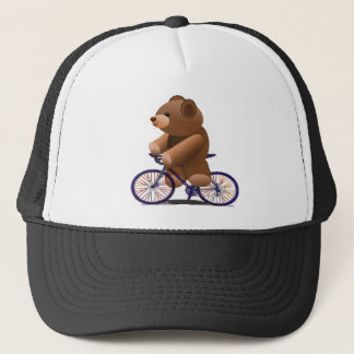 Cycling Teddy Bear Print Trucker Hat