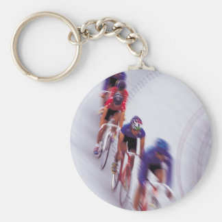 Cycling Track Race Bicycle Cycle Bicycling Basic Round Button Key Ring