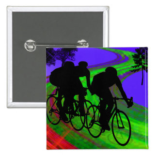 Cycling Trio on Ribbon Road 15 Cm Square Badge