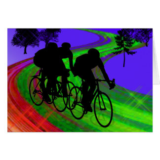 Cycling Trio on Ribbon Road Greeting Card