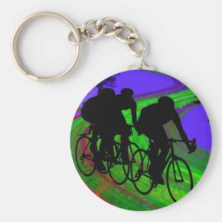 Cycling Trio on Ribbon Road Keychains