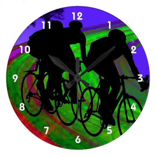 Cycling Trio on Ribbon Road Large Clock