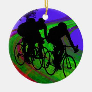 Cycling Trio on Ribbon Road Round Ceramic Decoration