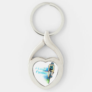 Cycling Twisted Heart Metal Keychain