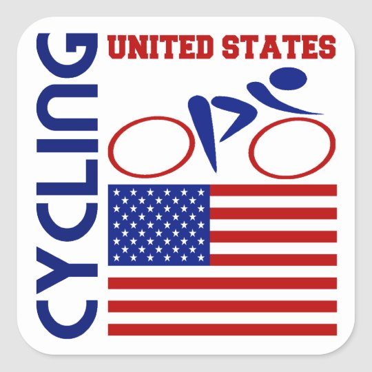 Cycling United States Square Sticker