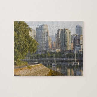 Cyclist along the Seawall Trail in downtown Jigsaw Puzzle