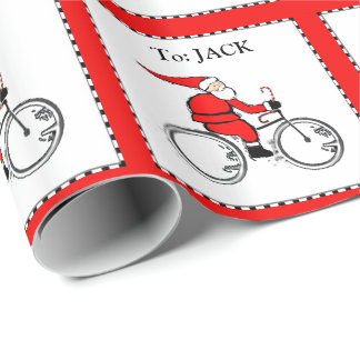 Cyclist Chrismtas Wrapping Paper
