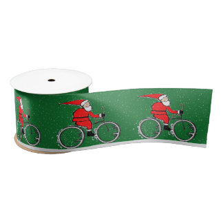 Cyclist Christmas Satin Ribbon