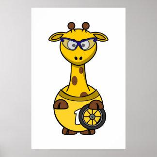 Cyclist Giraffe Poster