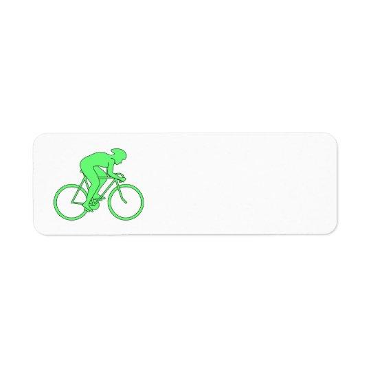 Cyclist in Green. Return Address Label