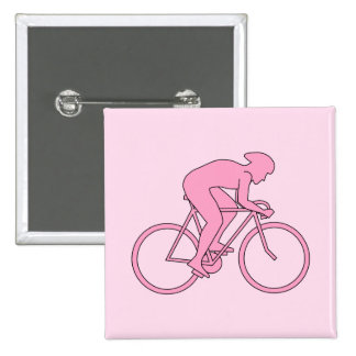 Cyclist in Pink 15 Cm Square Badge