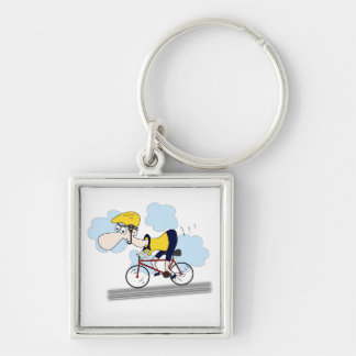 Cyclist Silver-Colored Square Key Ring
