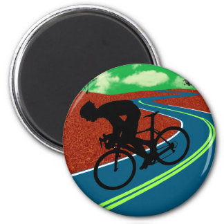 Cyclist on a Curved Highway 6 Cm Round Magnet