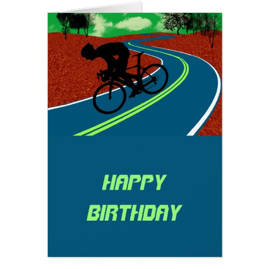 Cyclist on a Curved Highway Card