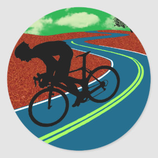 Cyclist on a Curved Highway Round Sticker