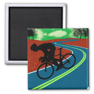 Cyclist on a Curved Highway Square Magnet