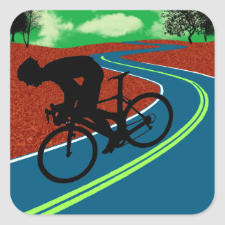 Cyclist on a Curved Highway Square Sticker