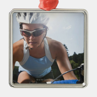 Cyclist on mountain road christmas ornament