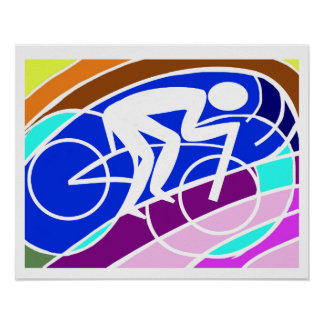 Cyclist Original Abstract  Lime, Teal, Magenta Poster