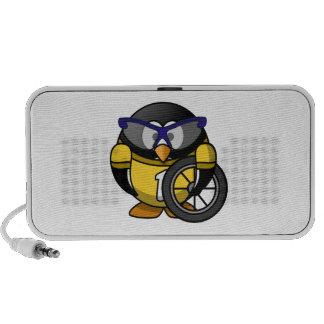 Cyclist Penguin in Yellow Notebook Speaker
