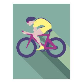 Cyclist racer Vector Postcard