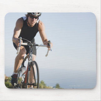 Cyclist road riding in Malibu Mouse Mat
