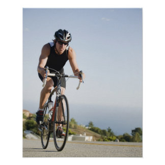 Cyclist road riding in Malibu Poster