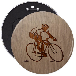 Cyclist silhouette engraved on wood design 6 cm round badge