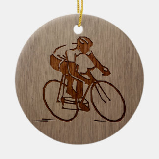 Cyclist silhouette engraved on wood design christmas ornament