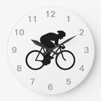 Cyclist Silhouette. Large Clock