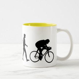 Cyclists Cycling evolution Bicycle Riders Two-Tone Coffee Mug
